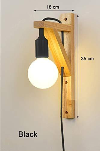 Appliques murales avec câble Simple en bois créatif suspendus en bois massif pour allées couloir lumière salon Applique Lamp Fixtures, Noir