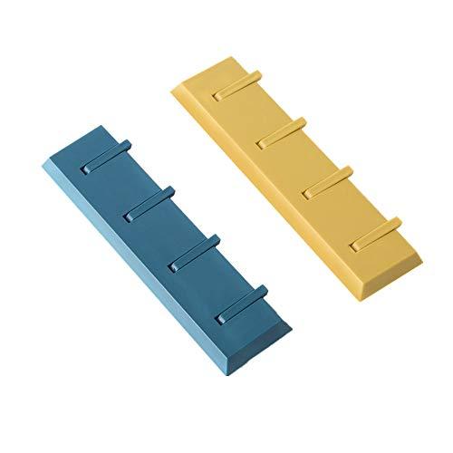 JINBAO Creativo Gancho de Pared para Piano, Gancho para Toallas montado en la Pared, una Fila de Cuatro Ganchos, Azul + Amarillo, 8.3 * 2.2in, Adecuado para Cocina/baño