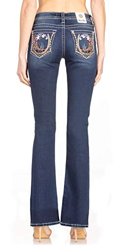 Miss Me Women's Mid-Rise Boot Cut Jeans with Desert Sky, Moon, and Stars Embellishments (29) Dark Blue