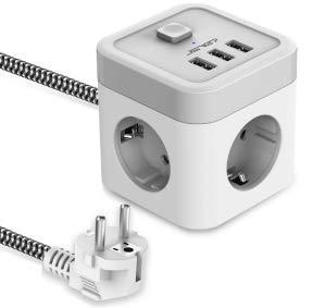 JSVER Regleta Enchufe Cube con USB de 3 Tomas con 3 USB Puertos(15,5 W) Alargadera Electrica Protección contra Sobretensiones con Interruptores para el hogar, la Oficina y los Viajes Cable 1,5 m