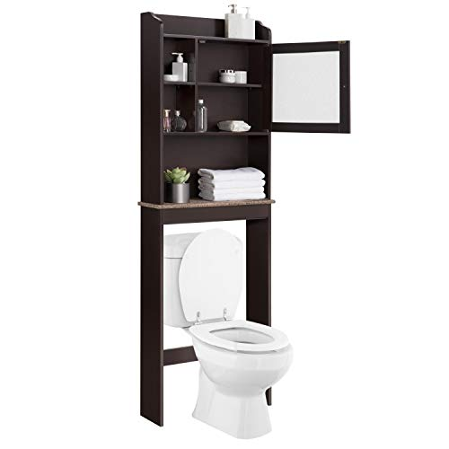 YAHEETECH Home Bathroom Shelf Over The Toilet Cabinet Space-Saver - Bathroom Storage Cabinet w/Adjustable Shelves and Glass Door