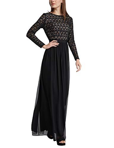 APART Damen Abendkleid mit Spitzentop, schwarz-Nude, 46