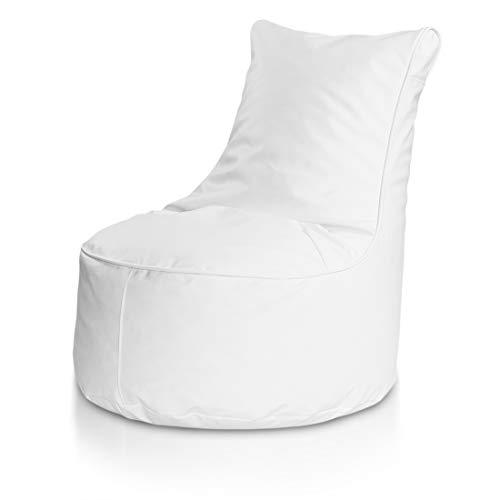 Bepouf Poltrona Sacco Puf Pouf con Schienale Alto Dimensioni 85x80 Ecopelle Pieno (Bianco, L)