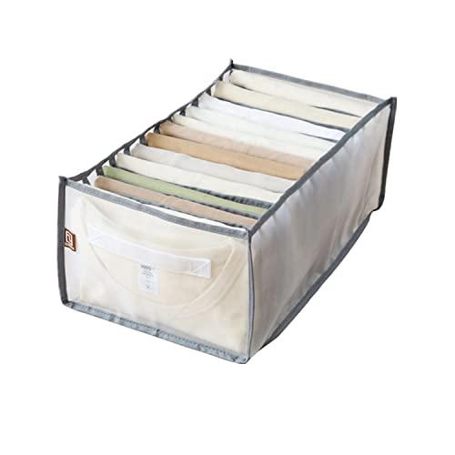 LAKYMXDP Armario de Caja de Almacenamiento con Compartimento de Jeans, Organizador de cajones de Armario Plegable, Caja de separación de Malla de cajón de Ropa (Gray,12 grids)