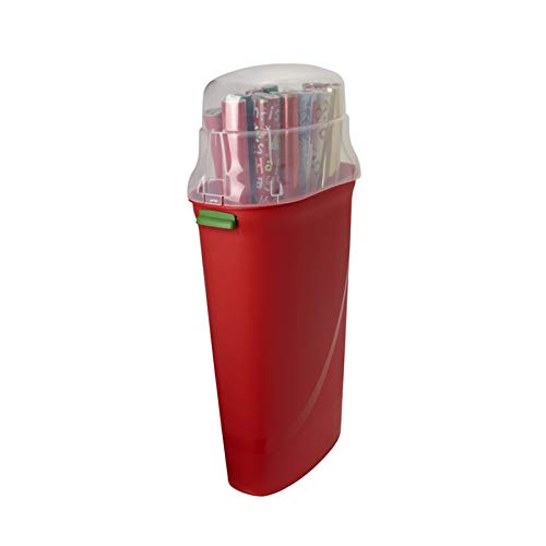 HOMZ Holiday 30 Container, Red Base, Clear Lid with Green Latches, Set of 2 Plastic Wrapping Paper Storage, 30 Inches, 2 Sets