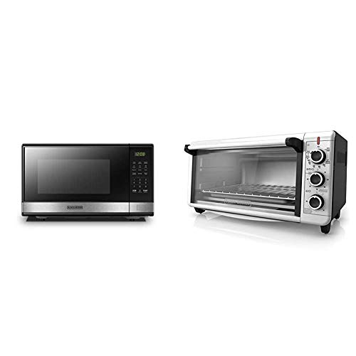 BLACK+DECKER Microwave Oven with Turntable Push-Button Door & TO3240XSBD 8-Slice Extra Wide Convection Countertop Toaster Oven, Includes Bake Pan, Broil Rack & Toasting Rack, Stainless Steel, Black