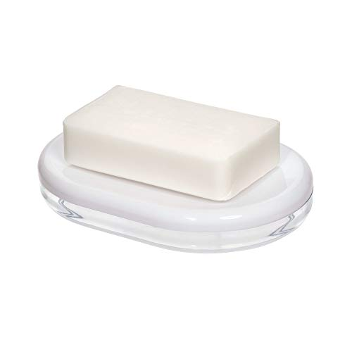 Price comparison product image iDesign 28872 Soap Dish,  Oval Soap Holder Made of Plastic for Bathroom or Kitchen,  Soap Bar Storage with Drainage Hole for Sink and Shower,  White,  14.1 cm x 10 cm x 2.4 cm