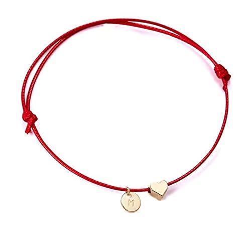 CXWK Pulsera de corazón de Amor con Letras y Monedas para Mujer, Pulsera de Amor Trenzada con Encanto a la Moda para Hombre, Brazalete de Cuerdas Rojas de la Suerte, Regalo de joyería