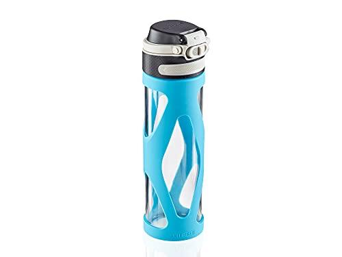 Leifheit Glasflasche Flip 600ml, 100{92953dc6b779aaf520e4993e8ee35ca382dd3c3718b230cba978a5c84963ae91} dichte Sportflasche, praktisches Öffnen mit einer Hand, Trinkflasche mit Filter für Fruchteinsatz, nachhaltige Wasserflasche, BPA frei, stoßfest, blau