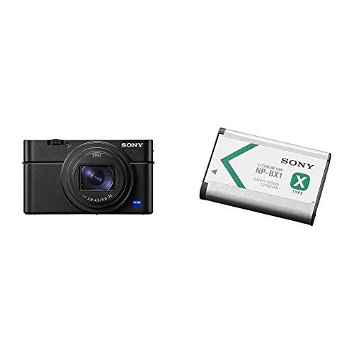Sony DSC-RX100M7 Appareil Photo numérique Compact Premium Ultra-Rapide Objectif Zoom 24-200 mm, Noir & NP-BX1 Batterie Rechargeable Série X pour Appareil Compact Cybershot