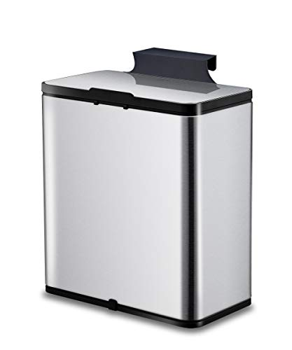 ELPHECO 2 Gallon Brushed Stainless Steel Hanging Trash Can, Kitchen...