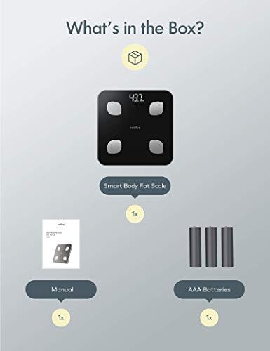 31AL0bed4jL - Báscula Grasa Corporal, Roffie Báscula de Baño Digital Báscula de Peso Inteligente con Indice de Grasa Corporal, Wireless Monitores de Composición Corporal Analizar 23 Funciones con APP Negro