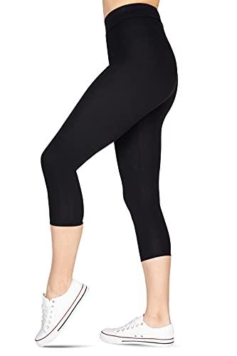 looksy Capri 3/4 Länge Leggings für Frauen Workout Hose Cropped Yoga Baumwolle Pants Plus Size Schwarz Gr. L