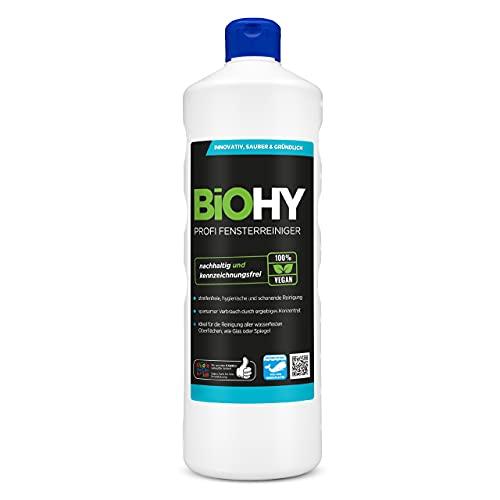 BiOHY Profi Fensterreiniger (1l Flasche) | Glasreiniger Konzentrat, ideal für alle FENSTERSAUGER | Streifenfreie Reinigung von Glas-, Fenster- & Spiegelflächen