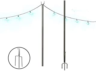 FLY HAWK Outdoor String Lights, String Light Terrace Garden Terrace Residential Cafe Wedding Decoration with 10 Feet Rust Bracket LED or Suspended Light Solar Bulb Upgrade (Stainless Steel)