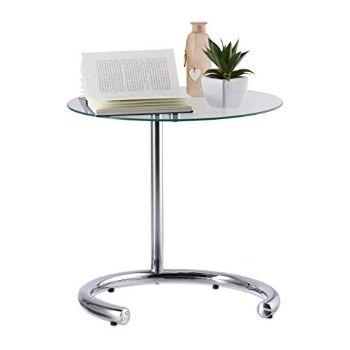 Relaxdays Mesa Auxiliar de Altura Regulable hasta 70 cm, Mesita Café, Acero Cromado-Cristal, Superficie 46 cm, Plateado, 70 x 46 x 46 cm
