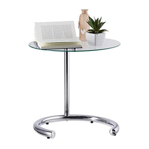 Relaxdays Tavolino caffè Altezza Regolabile Fino a 70 cm, Tavolo Piccolo per Salotto, Acciaio Cromato, Argento, 46 x 46 x 70 cm