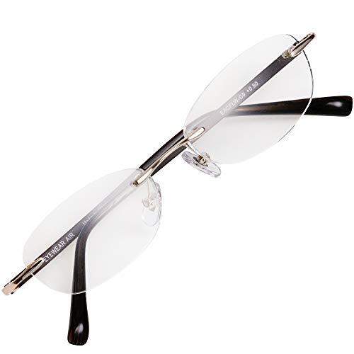 フチなし 軽い 老眼鏡 アイウェアエア おしゃれなフレームレス メンズ レディース ブルーライトカット +0.5~+2.0 4色 オーバルウェリントン ブラウン C9 +2.00