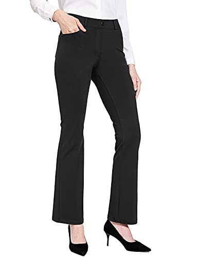 """BALEAF Women's Yoga Dress Pants Pull on Work Pants Stretch Bootcut Slacks for Business Casual with Pockets 31"""" Black L"""