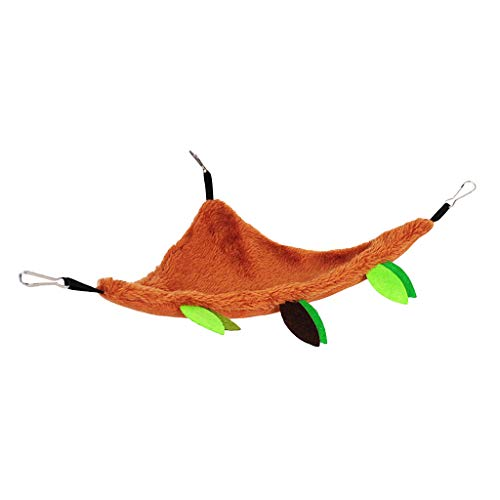 Shefii Plush Small Pet Toys Hanging Forest Leaf Pattern Swing Cylinder Hammock Ropeway Cage Decoration Accessories for Hamster Squirrel