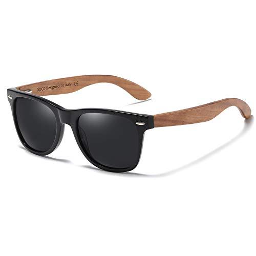 DUCO Sonnenbrille mit Holzbügeln aus Walnuss für Damen & Herren/Polarisierende Brillengläser mit UV-Schutz/mit Brillenetui aus echtem Bambus (Braun)