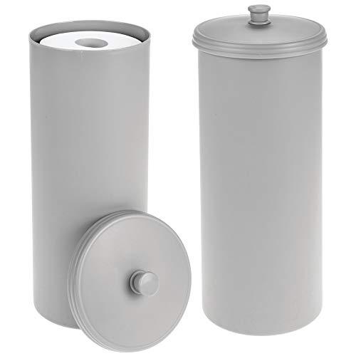 mDesign Plastic Free Standing Toilet Paper Holder Canister - Storage for 3 Extra Rolls of Toilet Tissue - for Bathroom/Powder Room - Holds Mega Rolls - 2 Pack - Gray