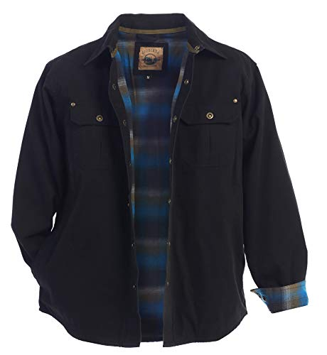 Gioberti Men's Brushed and Soft Twill Shirt Jacket with Flannel Lining, Black, 2XL
