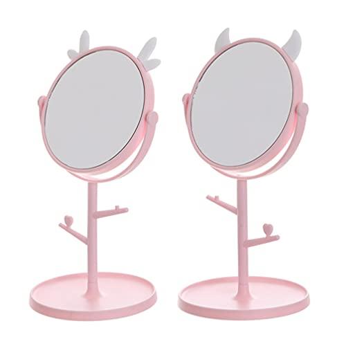 Beaupretty 2 Stuks Roterende Make- Up Spiegel Desktop Cosmetica Spiegel Met Opbergvak Staande Spiegel Persoonlijke…