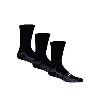 Sugar Free Sox Active-Fit Cushioned Diabetic Socks Athletic Moisture-Wicking Socks Crew Length  Black 10-13