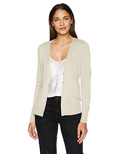 Amazon Essentials Women's Classic Fit Lightweight Long-Sleeve V-Neck Cardigan Sweater, Oatmeal Heather, X-Small