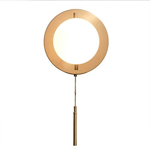 HCMNME Lámpara Industrial, Bola de Cristal de la lámpara Sencilla Pasillo Moderna lámpara de Noche Dormitorio cordón de la lámpara de Pared llevada,Decoración del hogar (Color : Brass)