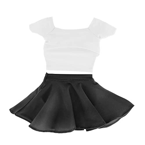Colcolo 1/6 Moda para Mujer Mangas Cortas Camisetas Tops Y Trajes de Plisada para 12 '' de Accin HT Cuerpo Accesorio de Ropa - Blanco Negro