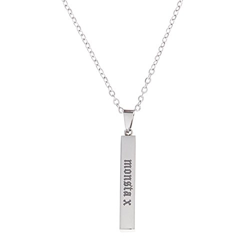 Saicowordist KPOP MINSTER X Edelstahl Vertikale Platz Halskette Brief Beschriftung Anhnger Halskette Fans Heies Geschenk