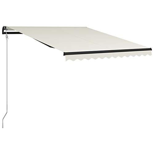 vidaXL Markise Einziehbar mit Windsensor LED Wasserabweisend Balkonmarkise Gelenkarmmarkise Sonnenschutz Terrasse Balkon Aluminium 300x250cm Creme