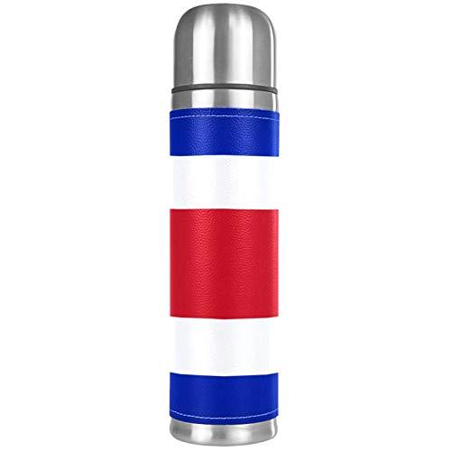 Costa Rica FlagEthnic MandalaBulldog - Gafas de sol de aviador de doble pared con aislamiento al vacío de acero inoxidable y piel sintética para viajes, botella de agua para Navidad, Halloween, mamá, papá