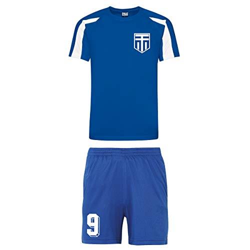 Kinder Trikot und Shorts im Griechenland-Stil, personalisierbar Gr. 12-13 Jahre, Königsblau und Weiß mit königsblauen Shorts