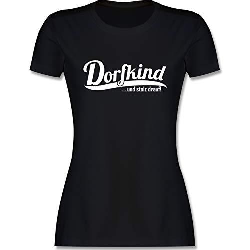 Sprüche - Dorfkind und stolz Drauf Weiss - S - Schwarz - Schwarze Tshirt Damen - L191 - Tailliertes Tshirt für Damen und Frauen T-Shirt