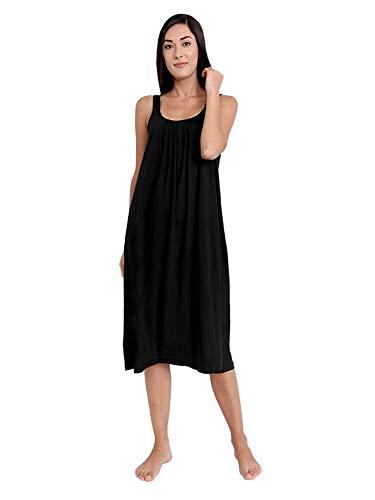 TWGE Cotton Full Length Camisole for Women - Long Innerwear Petticoat - Plus Size Nighty - Kurti Slip - Suit Slip - Pack of 1 Black (XXL)