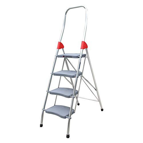 MYHZH Paso 4 De Aleación De Aluminio Escalera - Capacidad Ideal para El Hogar/Cocina/Garaje 135 Kg Temp - Anti Slip Pies - Fácil De Tienda De Diseño Plegable