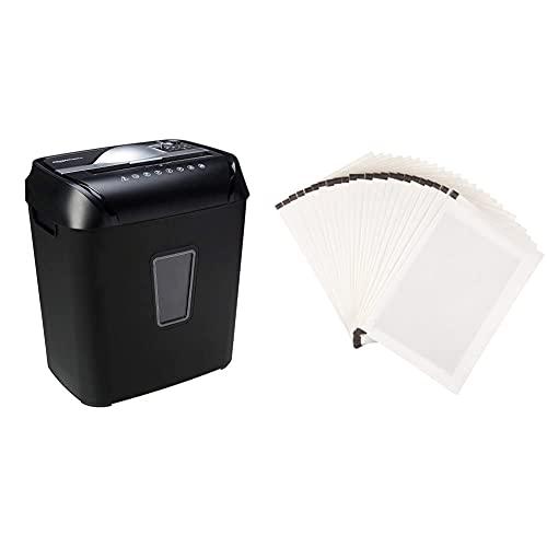 Amazon Basics Trituradora de Corte Transversal para Tarjetas de crédito y Papel, para 12 Hojas + -Hojas para lubricar y afilar trituradoras Pack de 24