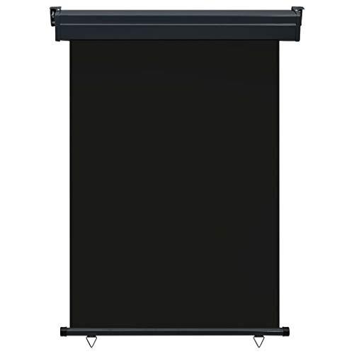 Festnight Balkon-Seitenmarkise 120 x 250 cm Schwarz Senkrechtmarkise Sonnenschutz Sichtschutz Windschutz Markise Außenrollo Balkonrollo