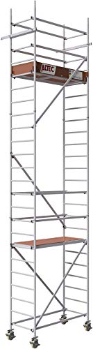 ALTEC Rollfix® 2.0 700 | 7m Arbeitshöhe | bremsb. Lenkrollen (Ø150mm) | Wandanker | Made in Germany | TÜV&GS | belastbar 200kg/m² | Norm - EN 1004:2005 | Modulares Arbeitsgerüst | Alu-Gerüst