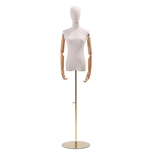 HAIPENG Female Mannequin Torso Body with Wooden Arms and Adjustable Height Round Base Dress Form for Clothing Jewelry Display (Color : Gold, Size : M)