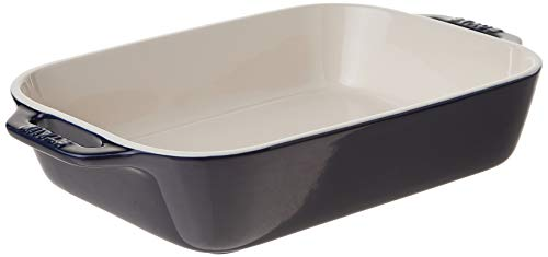 Staub Ceramic Rectangular Gratin Dish, Dark Blue, 10.5' x 7.5'