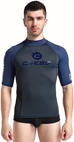 Cressi Unisex– Erwachsene Hydro Men'S Premium S.Sleeves Rash Guard Kurze Ärmel aus elastischem Stoff Mann UV-Schutz (UPF) 50+, Schwarz/Blau, XXXL