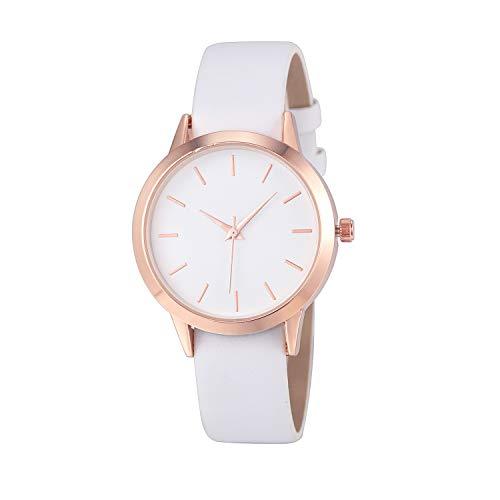 Luckhome Damenuhr Uhr Analog Quarzwerk Mit Leder Armband Date Frauen Männer Einfacher Quarzanaloge Gold Lederband Armbanduhren(Weiß)