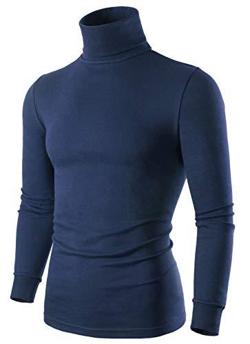 SERHOM Navy Turtleneck Sweater Men Long Sleeve Mock Turtleneck Sweater, 100% Combed Cotton, Large