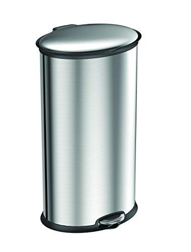 EKO Elipse Poubelle à Pédale Métal Inox 35,6 x 32,5 x 65,3 cm 30 litres