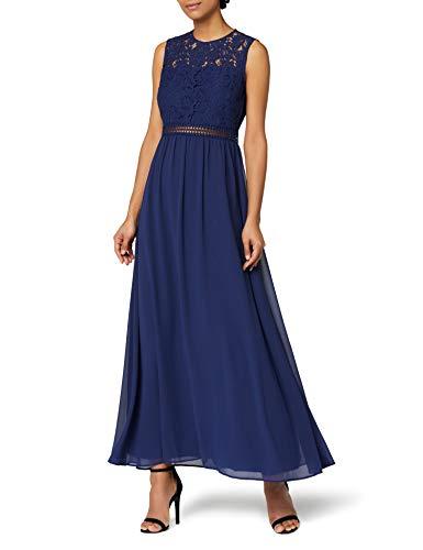 Amazon-Marke: TRUTH & FABLE Damen Maxi-Spitzenkleid, Blau (Blue Blue), 34, Label:XS
