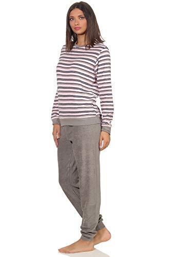 Edler Damen Frottee Pyjama Langarm Schlafanzug mit Bündchen in Streifenoptik - 291 13 569, Farbe:rosa, Größe2:44/46